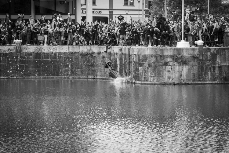 © Keir Gravil 2020. Keir's photograph of Colston's statue being dumped into Bristol docks is fast on its way to becoming an iconic image of our time, appearing in the press worldwide.
